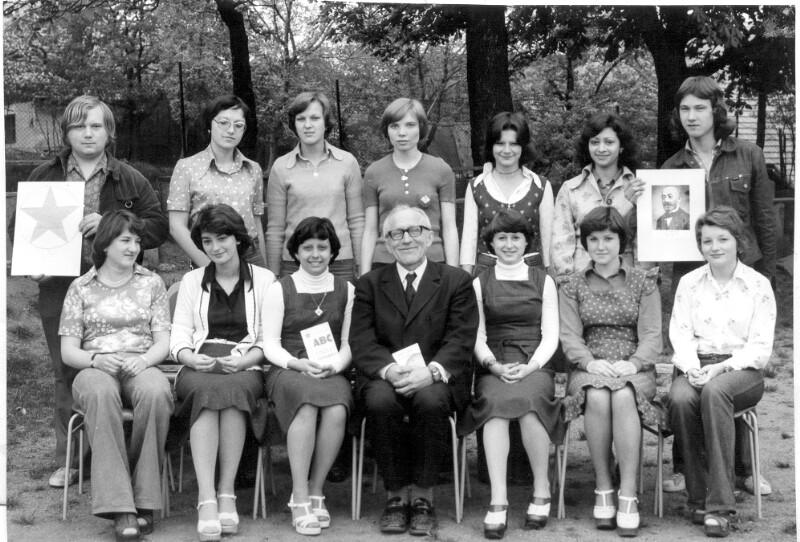 Esperanto-Schüler am Humanistischen Gymnasium Valašské Klobouky, um 1975