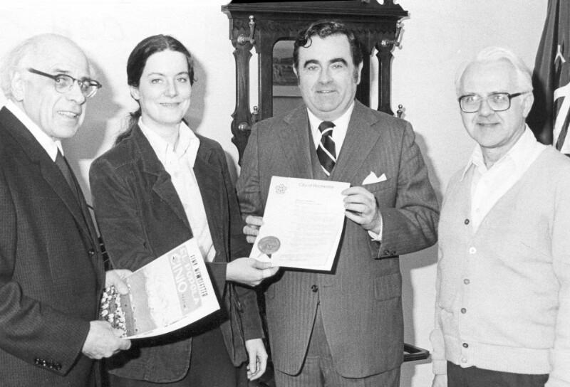 Empfang einer Esperanto-Delegation beim Bürgermeister, Rochester 1980