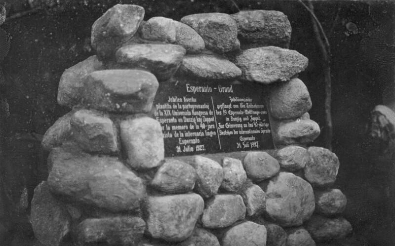 Gedenkstein an die Errichtung der Esperanto-Eiche auf dem Esperanto-Grund, Zoppot 1927