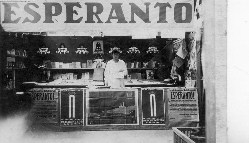 Esperanto-Stand auf der Internationalen Messe, Reichenberg 1923