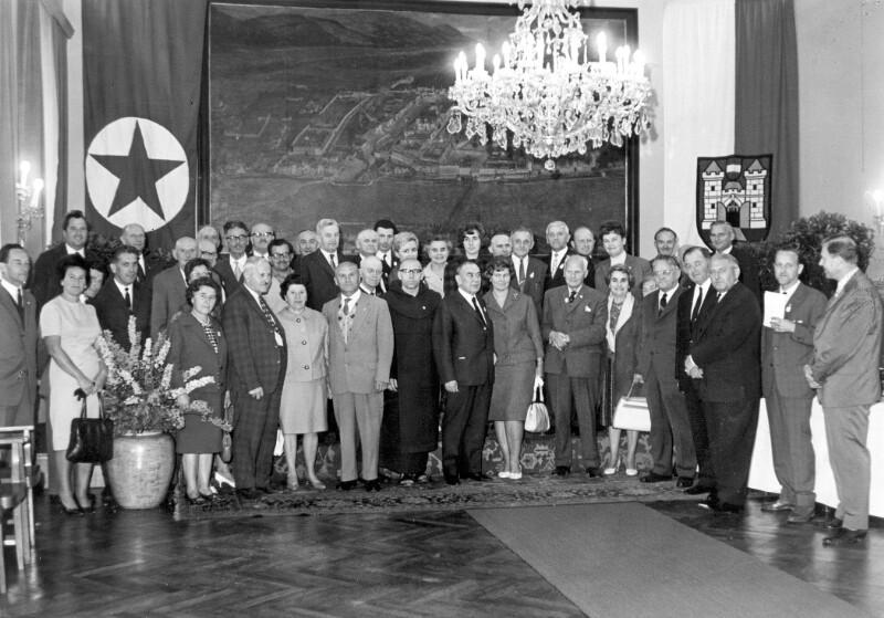 Esperantisten-Delegation im Rathaus, Linz 1965