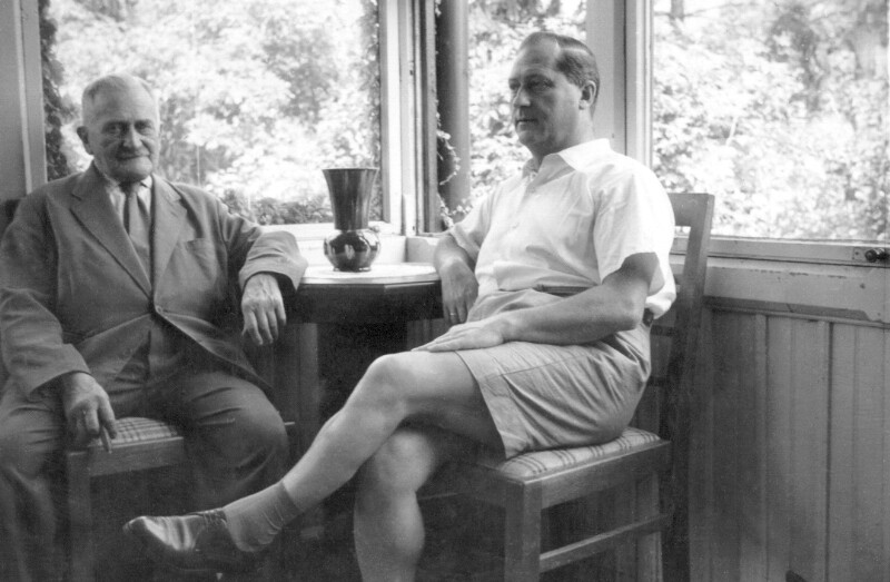 Hugo Steiner mit Sohn Lothar, Bisamberg um 1960