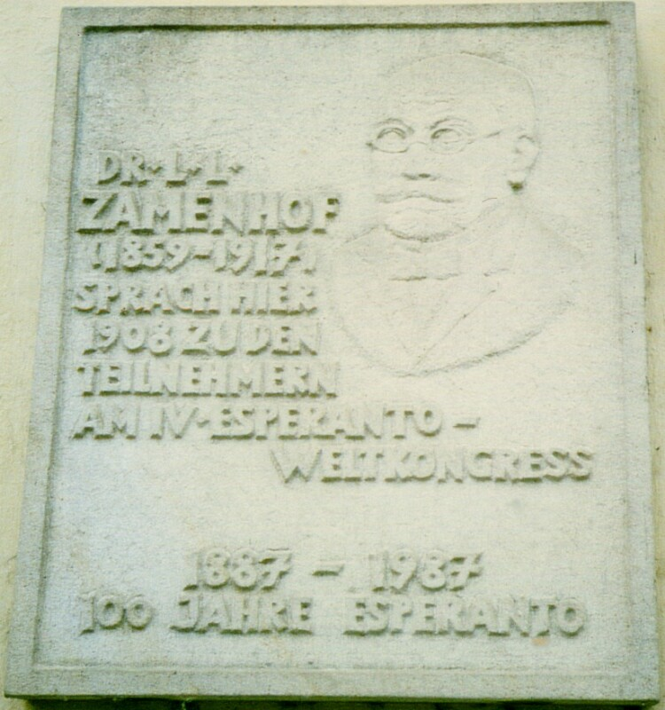 Zamenhof-Gedenktafel, Dresden um 1990