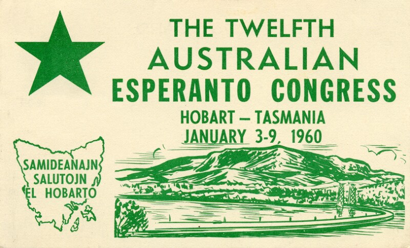 Ansichtskarte: The Twelfth Australian Esperanto Congress, Hobart - Tasmania, January 3 - 9, 1960