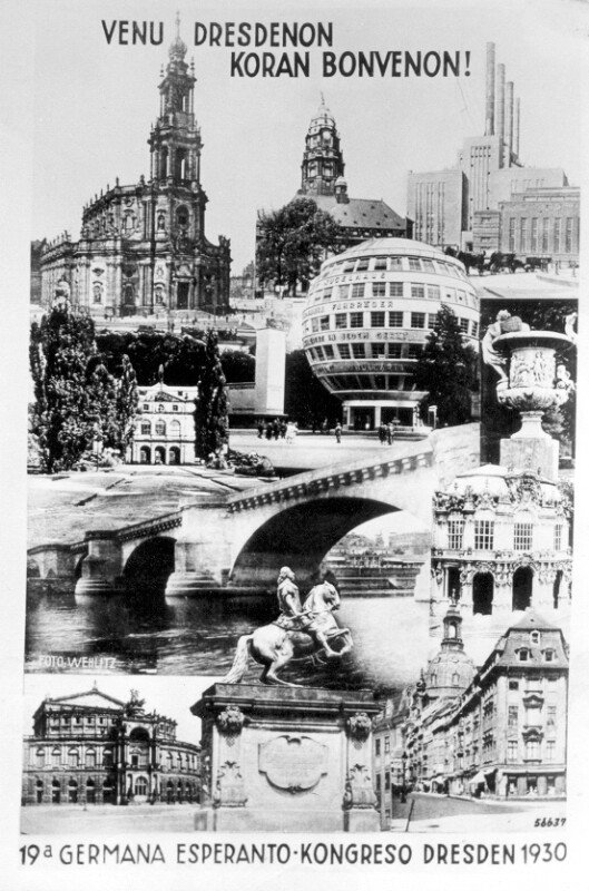 Ansichtskarte: Venu Dresdenon, koran bonvenon! 19a Germana Esperanto-Kongreso, Dresden 1930