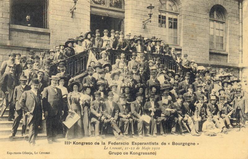 """Ansichtskarte: IIIa Kongreso de la Federacio Esperantista de """"Bourgogne"""". Grupo de kongresanoj"""