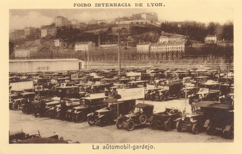 Ansichtskarte: Foiro Internacia de Lyon. La aŭtomobilgardejo