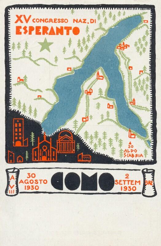 Ansichtskarte: XV. Congresso Naz. di Esperanto, Como, 30 agosto - 2 settembre 1930