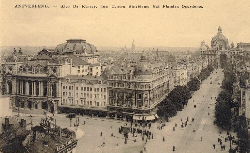 Ansichtskarte: Antverpeno - Aleo de Keyser, kun Centra Stacidomo kaj Flandra Operdomo