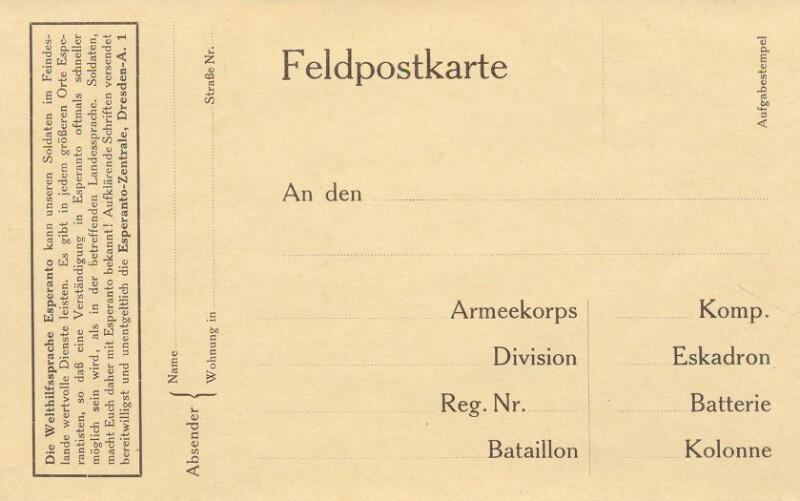 Feldopstkarte mit Werbung für Esperanto