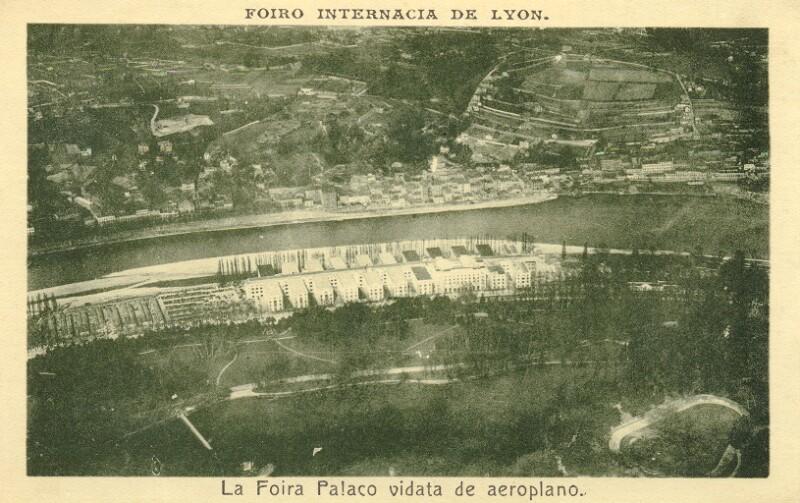 Ansichtskarte: Foiro Internacia de Lyon, la Foira Palaco vidata de aeroplano