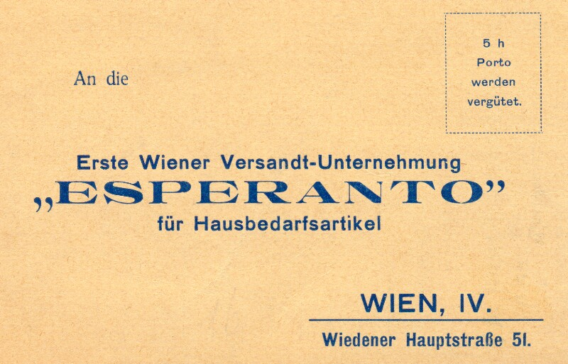 """Postkarte: An die Erste Wiener Versandt-Unternehmung """"Esperanto"""""""