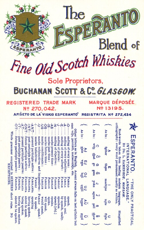 Postkarte: The Esperanto blend of fine old Scotch Whiskies