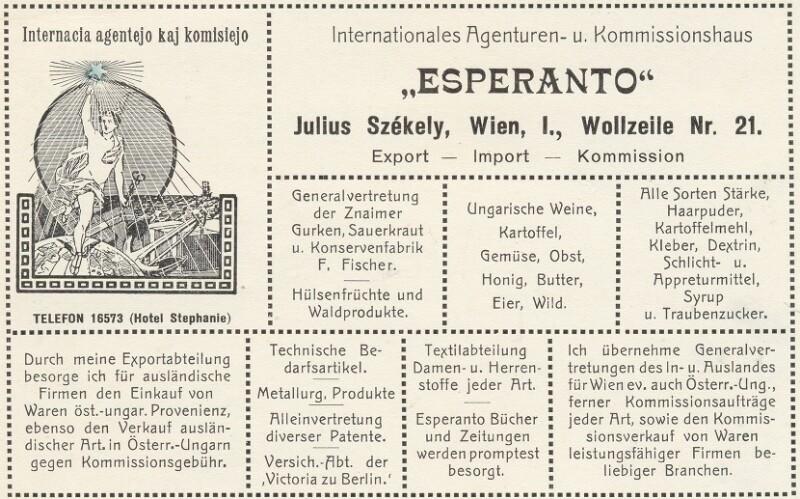 """Postkarte: Internationales Agenturen- und Kommissionshaus """"Esperanto"""""""