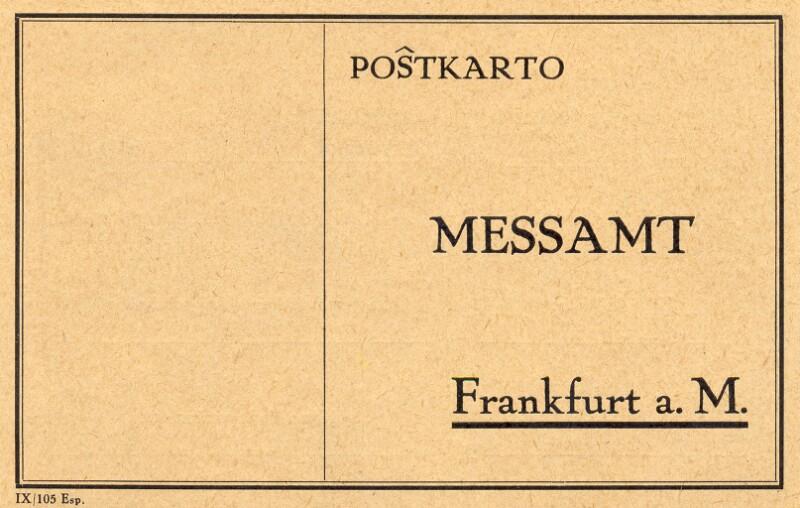 Postkarte: Messamt Frankfurt a. M.
