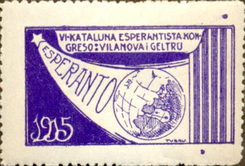 Verschlussmarke: VIa Kataluna Esperantista Kongreso, Vilanova i Geltru 1915