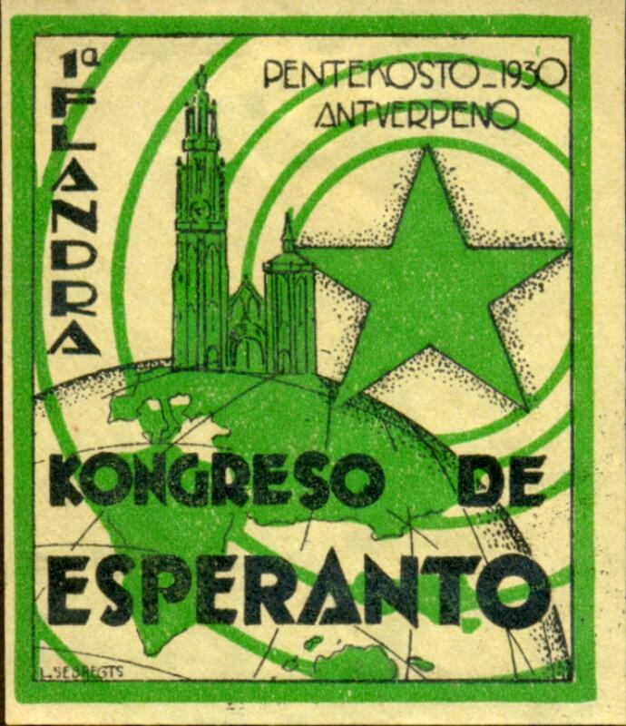 Verschlussmarke: 1a Flandra Kongreso de Esperanto, Antverpeno 1930