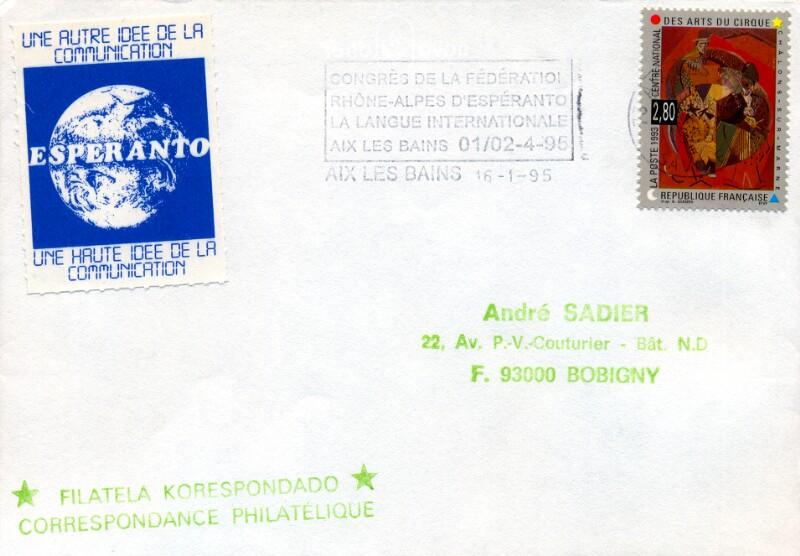 Werbestempel: Congrès de la Fédération Rhône-Alpes d'Espéranto, Aix les Bains 1995