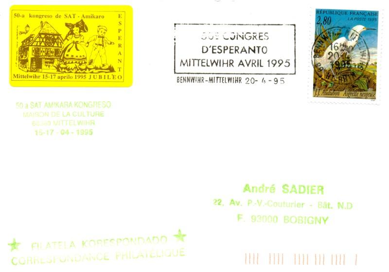 Werbestempel: 50e Congrès d'Espéranto, Mittelwihr 1995