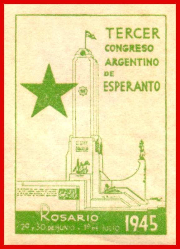Verschlussmarke: Tercer Congreso Argentino de Esperanto, Rosario 1945