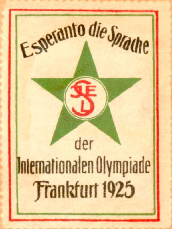 Verschlussmarke: Esperanto, die Sprache der internationalen Olympiade , Frankfurt 1925
