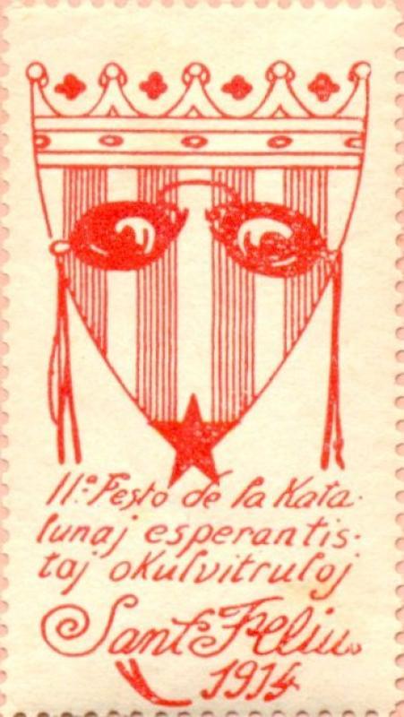 Verschlussmarke: II. Festo de la Katalunaj Esperantistaj Okulvitruloj, Sant Feliu 1914