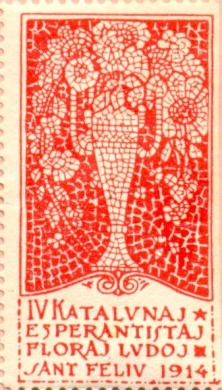Verschlussmarke: IV. Katalunaj Esperantistaj Floraj Ludoj, Sant Feliu 1914