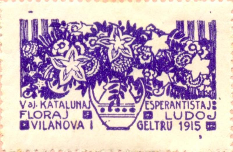 Verschlussmarke: Vaj Katalunaj Esperantistaj Floraj Ludoj, Vilanova i Geltrú 1915