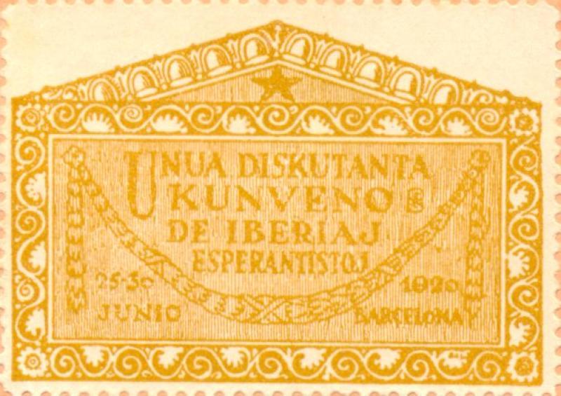 Verschlussmarke: Unua Diskutanta Kunveno de Iberiaj Esperantistoj, Barcelona 1920