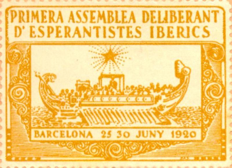 Verschlussmarke: Primera Assemblea Deliberant d' Esperantises Iberics, Barcelona 1920
