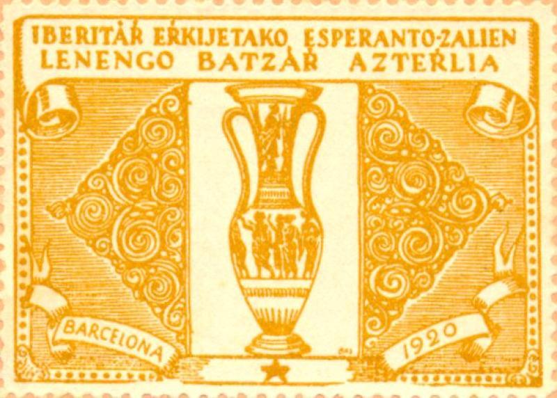 Verschlussmarke: Iberitár Erkijetako Esperanto-Zalien Lenengo Batzár Azterlia, Barcelona 1920