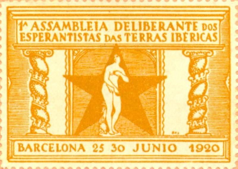 Verschlussmarke: 1a Assamblea Deliberante dos Esperantistas das Terras Ibéricas, Barcelona 1920