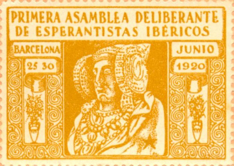 Verschlussmarke: Primera Asamblea Deliberante de Esperantistas Ibéricos, Barcelona 1920