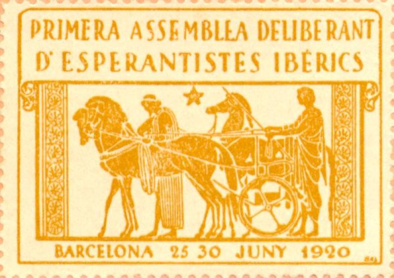 Verschlussmarke: Primera Assemblea Deliberant d' Esperantistes Ibérics, Barcelona 1920