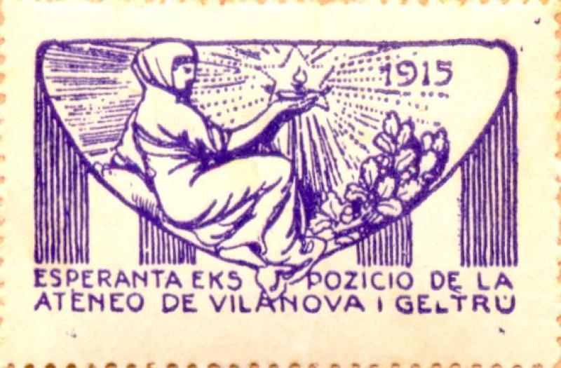 Verschlussmarke: Esperanta ekspozicio de la Ateneo de Vilanova i Geltrú, 1915