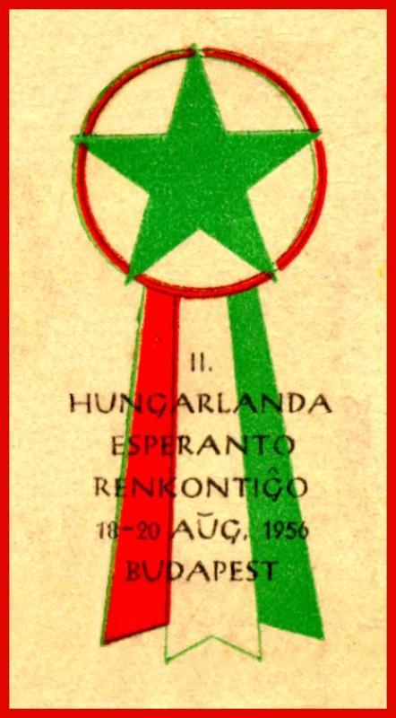 Aufkleber: II. Hungarlanda Esperanto-Renkontiĝo, Budapest 1956