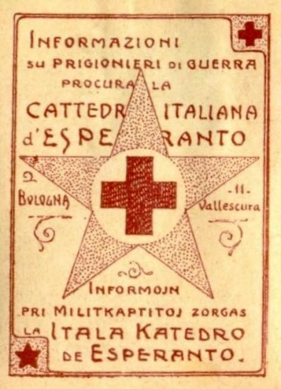 Verschlussmarke: Informazioni su prigioneri di guerra procura la Cattedra Italiana d' Esperanto, Bologna