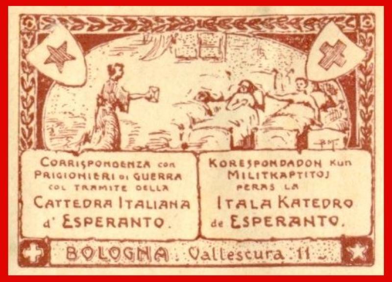 Verschlussmarke: Korespondadon kun militkaptitoj peras la Itala Katedro de Esperanto, Bologna