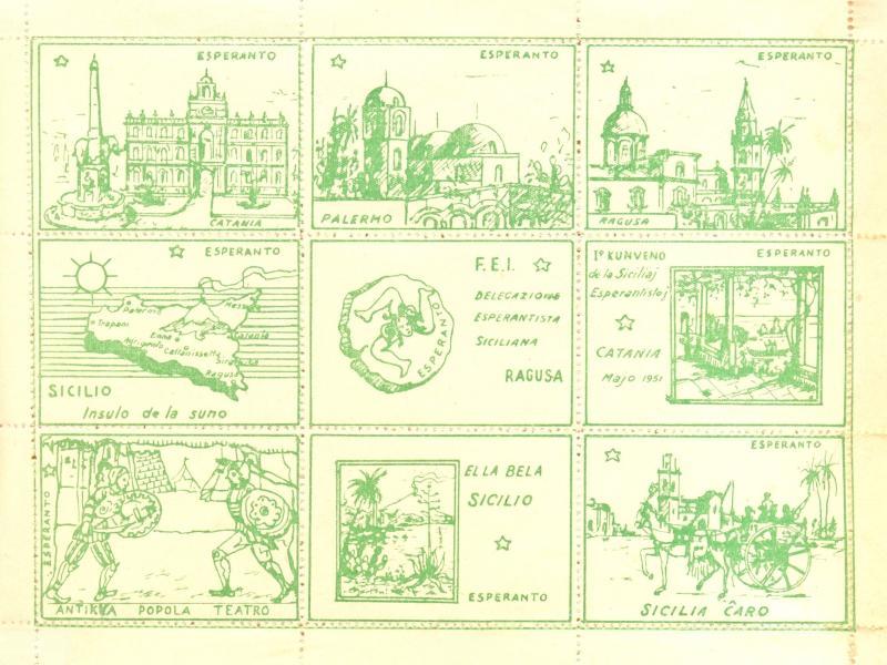 Markenblock: 1a Kunveno de la Siciliaj Esperantistoj, Catania 1951