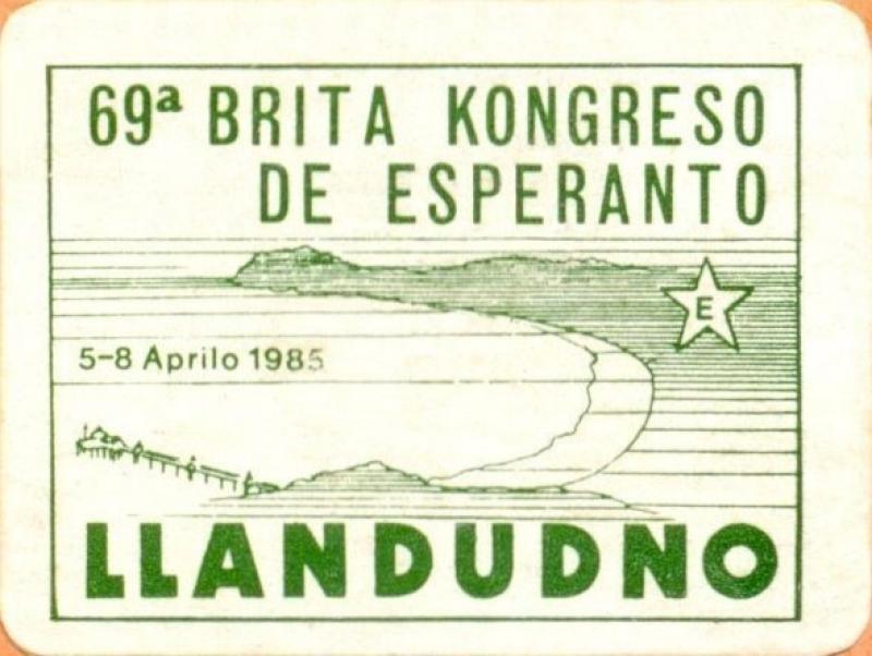 Aufkleber: 69a Brita Kongreso de Esperanto, Llandudno 1985