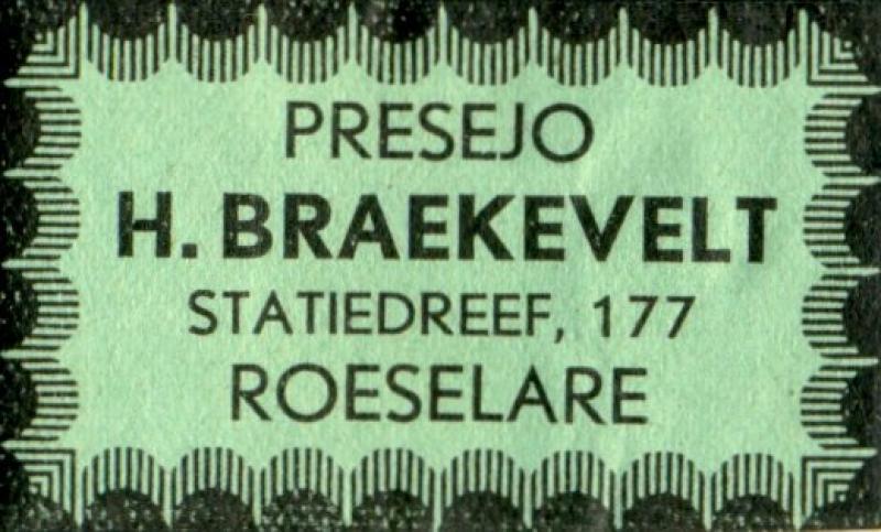 Adressaufkleber: Presejo H. Braekevelt, Roeselare