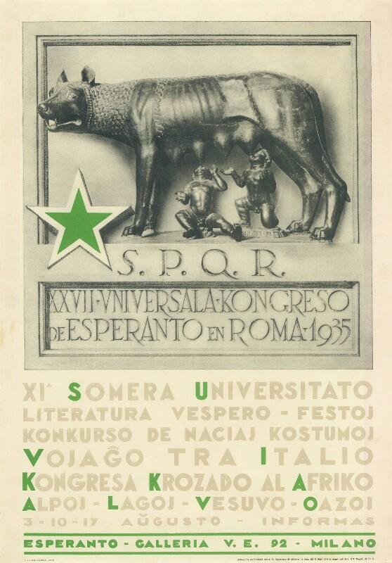Plakat: XXVII. Universala Kongreso de Esperanto en Roma, 1935