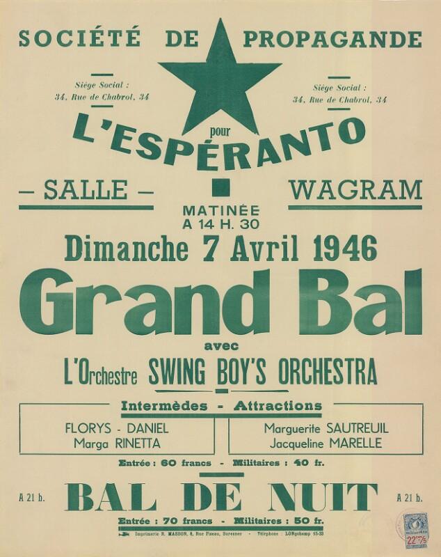 Plakat: Grand Bal : avec l'orchestre Swing Boy's Orchestra