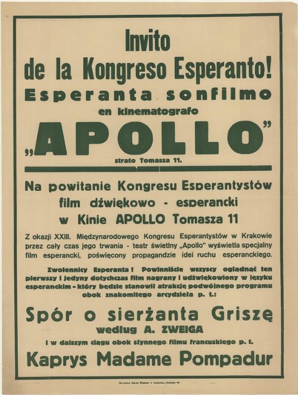 """Plakat: Invito de la Kongreso Esperanto! : Esperanta sonfilmo en kinematografo """"Apollo"""""""