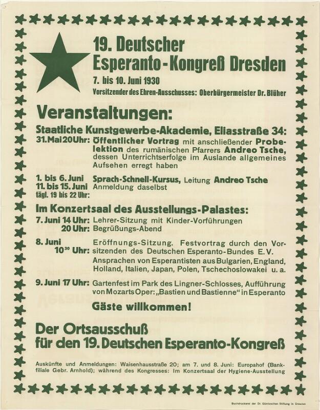 Plakat: 19. Deutscher Esperanto-Kongress Dresden : 7. bis 10. Juni 1930 ...