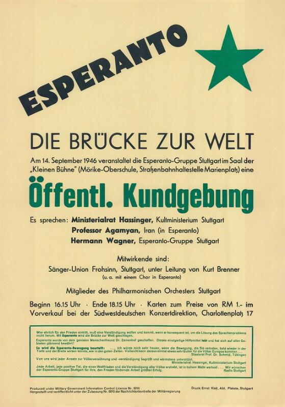 Plakat: Esperanto : Öffentl. Kundgebung ; die Brücke zur Welt