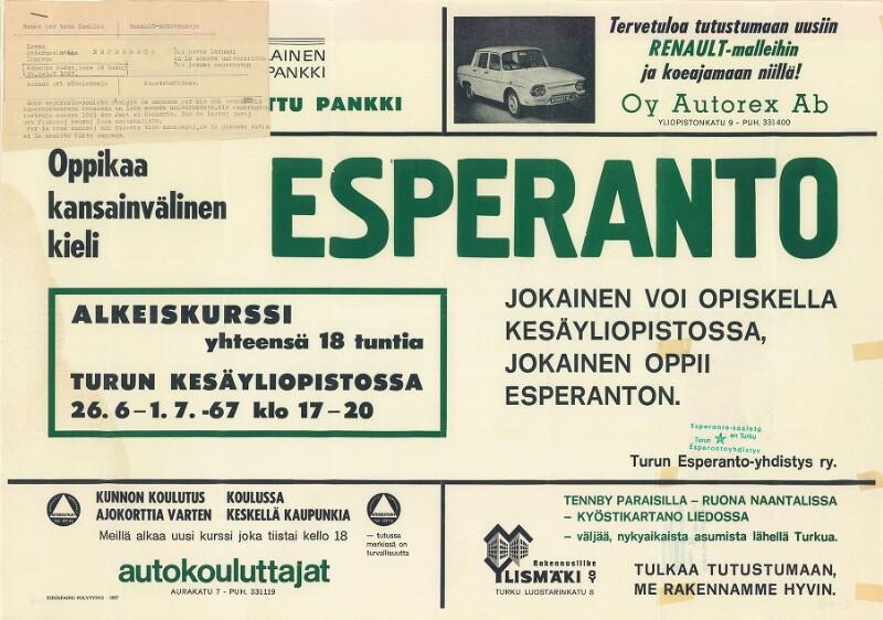 Plakat: Esperanto : oppikaa kansainvälinen kieli ...