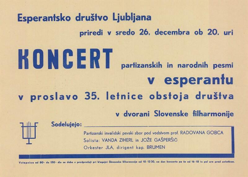 Plakat: Esperantsko društvo Ljubljana : Koncert priredi v sredo ...