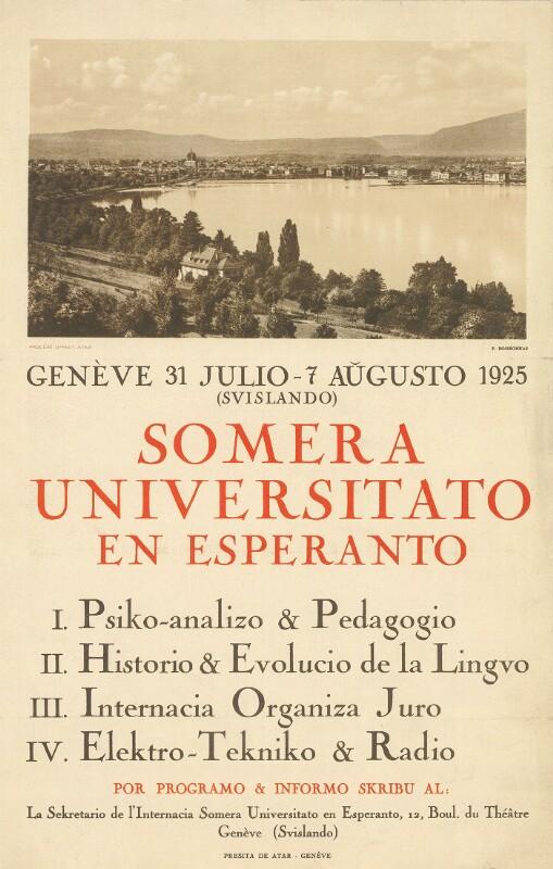 Plakat: Somera Universitato : en Esperanto, Genève 1925