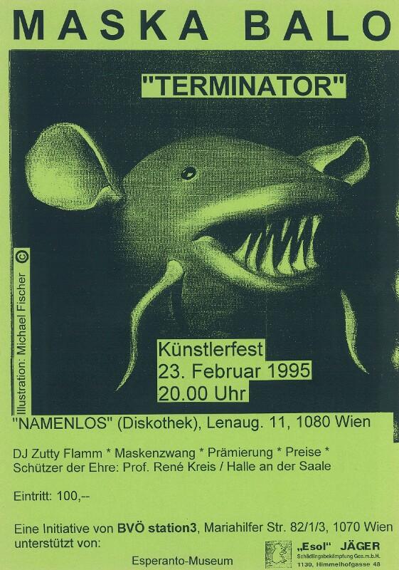 """Plakat: Maska Balo : """"Terminator"""" ; Künstlerfest, 23. Februar 1995, 20.00 Uhr"""